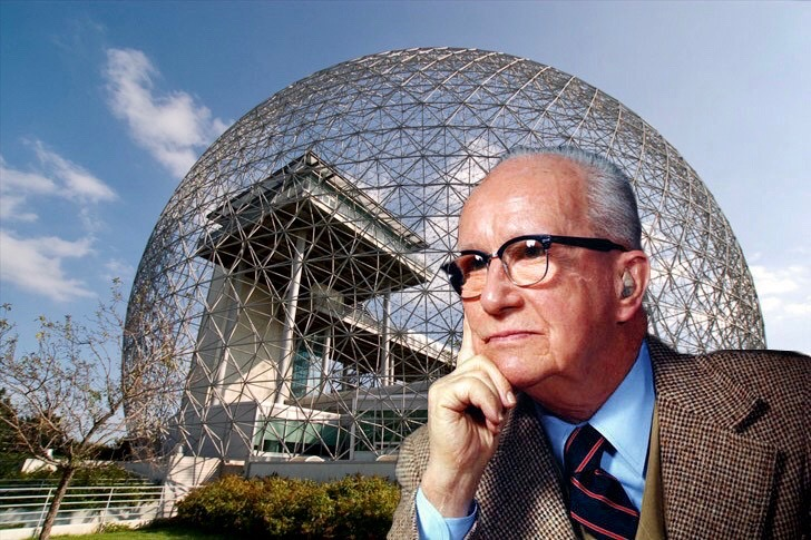 Portrait of Buckmister Fuller in front of a geodesic dome, pondering a new economic system based on social and global values.